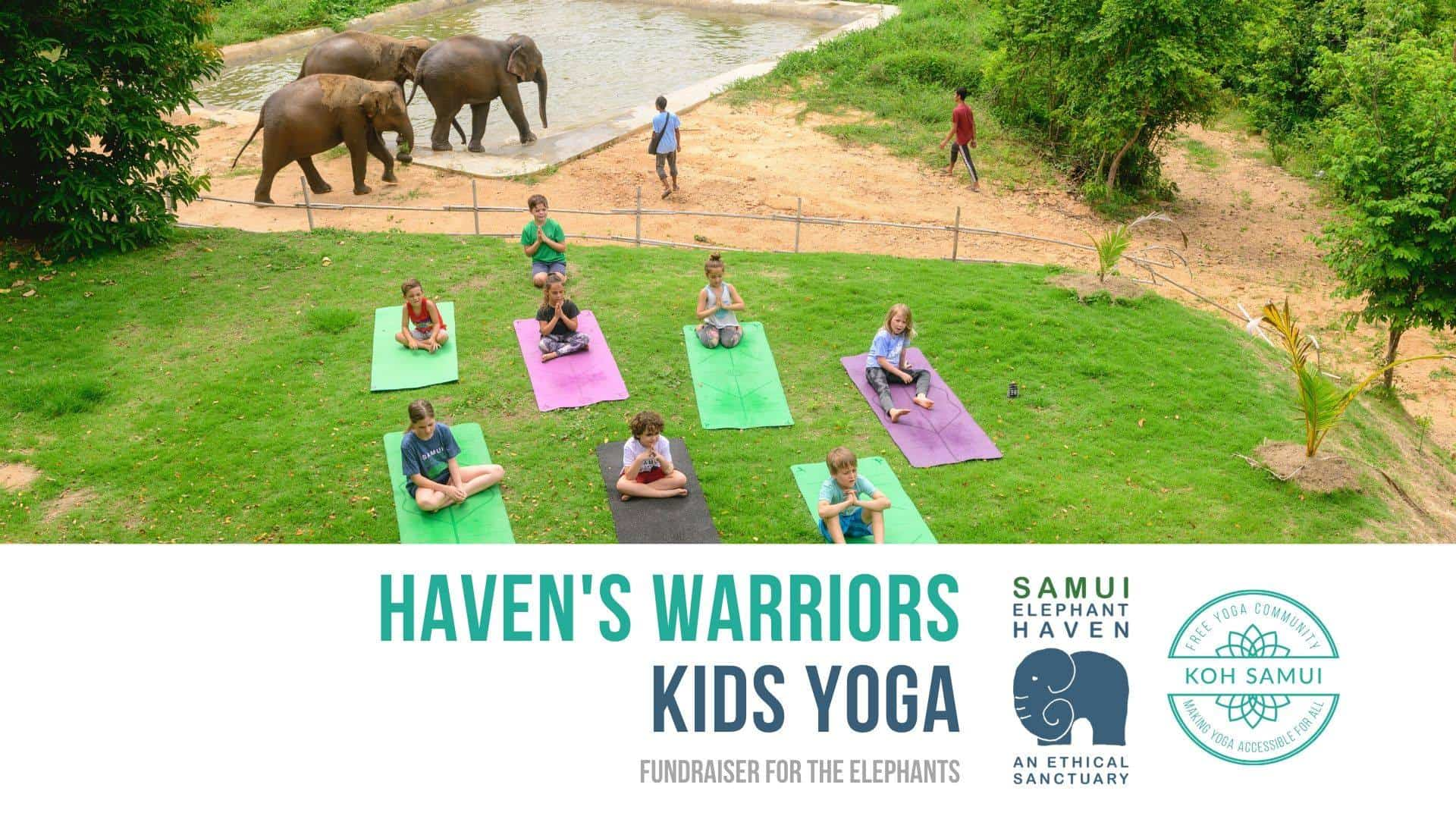 Haven's Warriors, Community Yoga for Kids at Samui Elephant Haven 2
